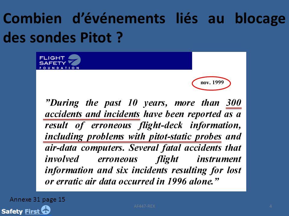 4 Combien dévénements liés au blocage des sondes Pitot ? Annexe 31 page 15