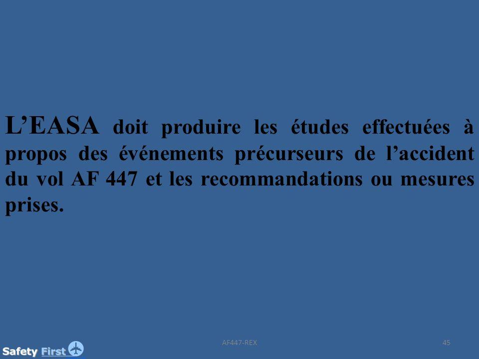 45 LEASA doit produire les études effectuées à propos des événements précurseurs de laccident du vol AF 447 et les recommandations ou mesures prises.