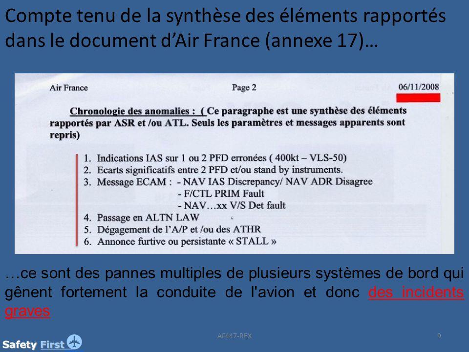 Compte tenu de la synthèse des éléments rapportés dans le document dAir France (annexe 17)… …ce sont des pannes multiples de plusieurs systèmes de bor