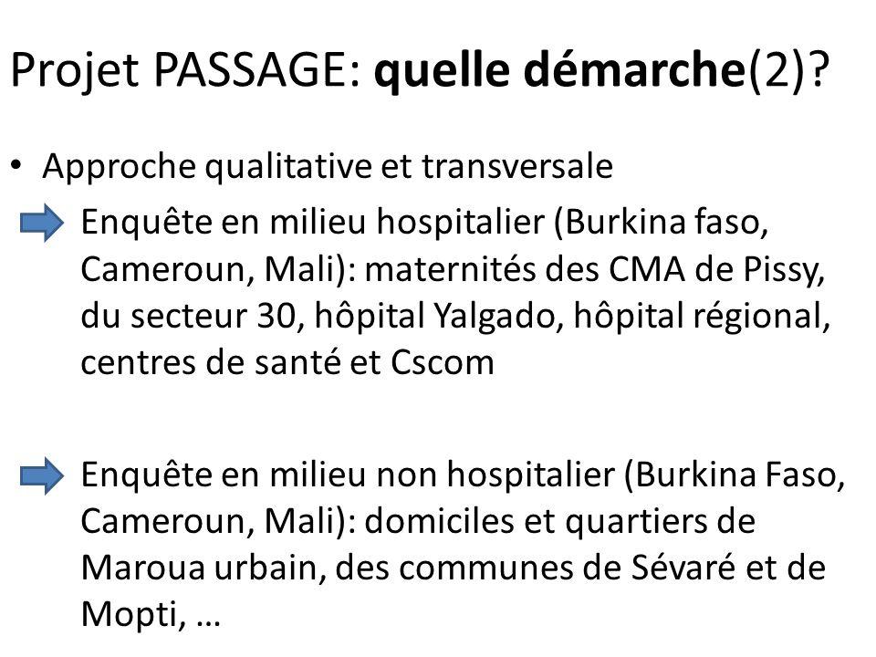 Projet PASSAGE: quelle démarche(2)? Approche qualitative et transversale Enquête en milieu hospitalier (Burkina faso, Cameroun, Mali): maternités des