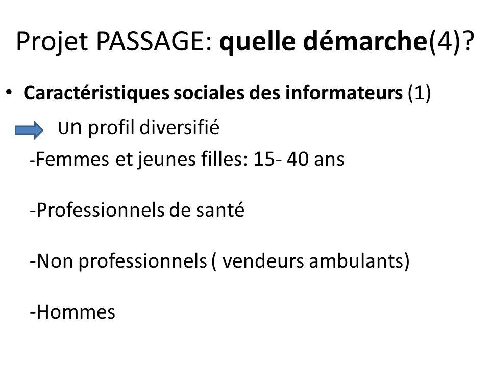 Projet PASSAGE: quelle démarche(4)? Caractéristiques sociales des informateurs (1) U n profil diversifié - Femmes et jeunes filles: 15- 40 ans -Profes