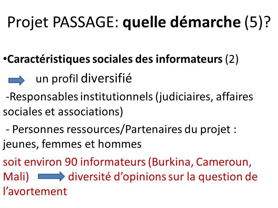 Projet PASSAGE: quelle démarche (5)? Caractéristiques sociales des informateurs (2) un profil diversifié -Responsables institutionnels (judiciaires, a