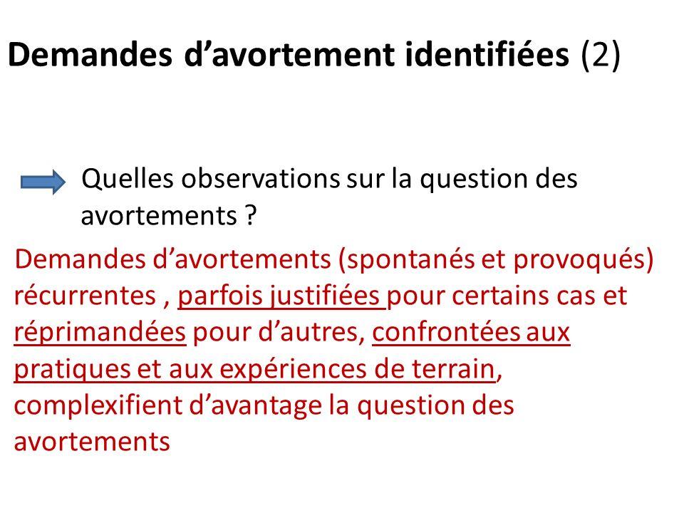 Demandes davortement identifiées (2) Quelles observations sur la question des avortements ? Demandes davortements (spontanés et provoqués) récurrentes