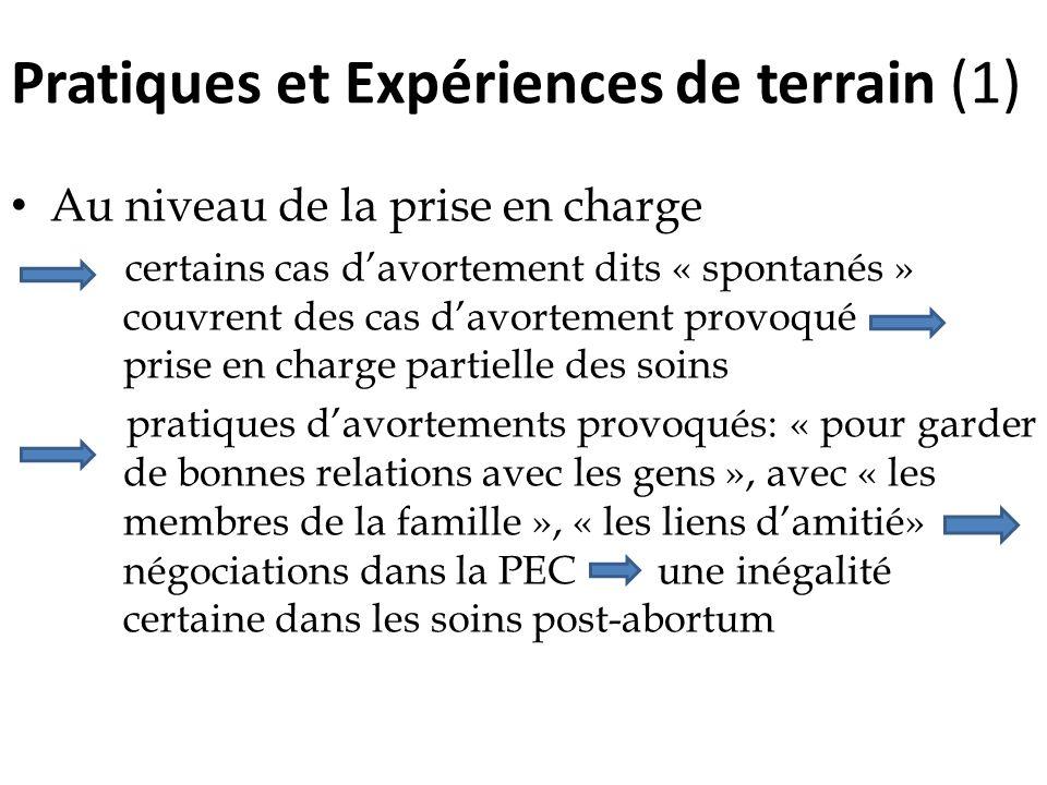 Pratiques et Expériences de terrain (1) Au niveau de la prise en charge certains cas davortement dits « spontanés » couvrent des cas davortement provo