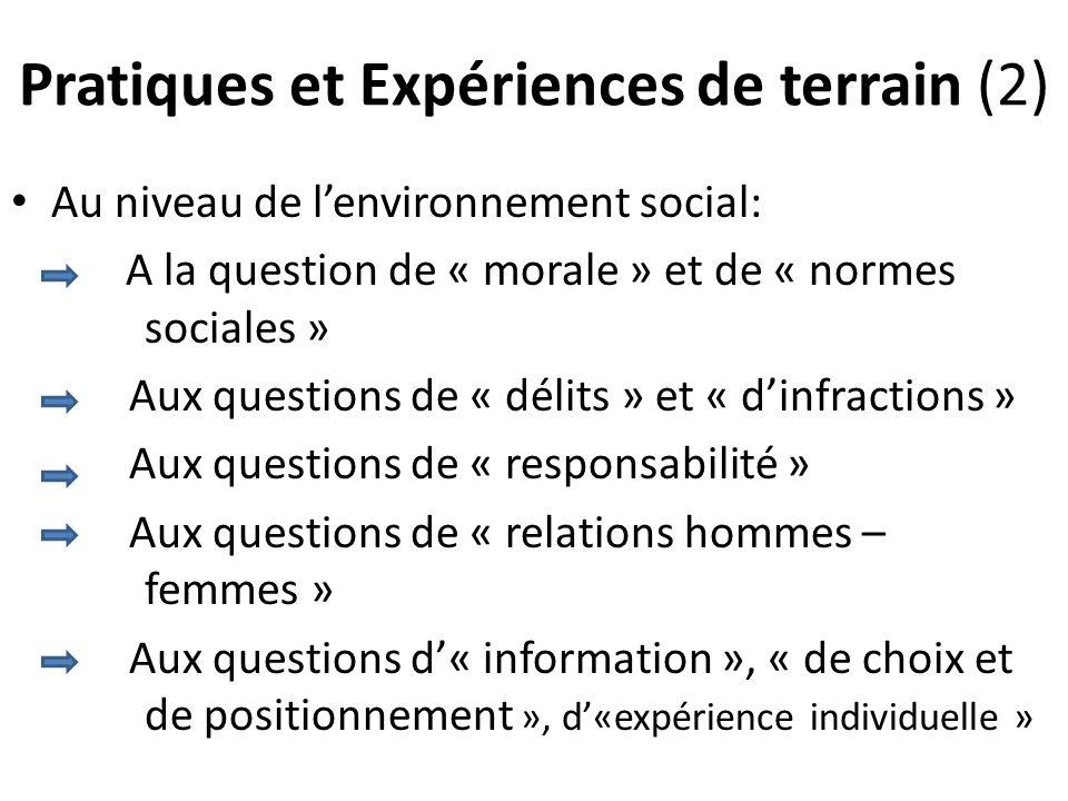 Pratiques et Expériences de terrain (2) Au niveau de lenvironnement social: A la question de « morale » et de « normes sociales » Aux questions de « délits » et « dinfractions » Aux questions de « responsabilité » Aux questions de « relations hommes – femmes » Aux questions d« information », « de choix et de positionnement », d«expérience individuelle »