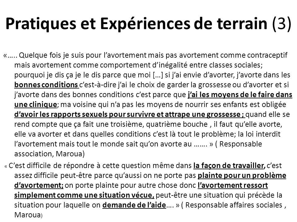 Pratiques et Expériences de terrain (3) «…..