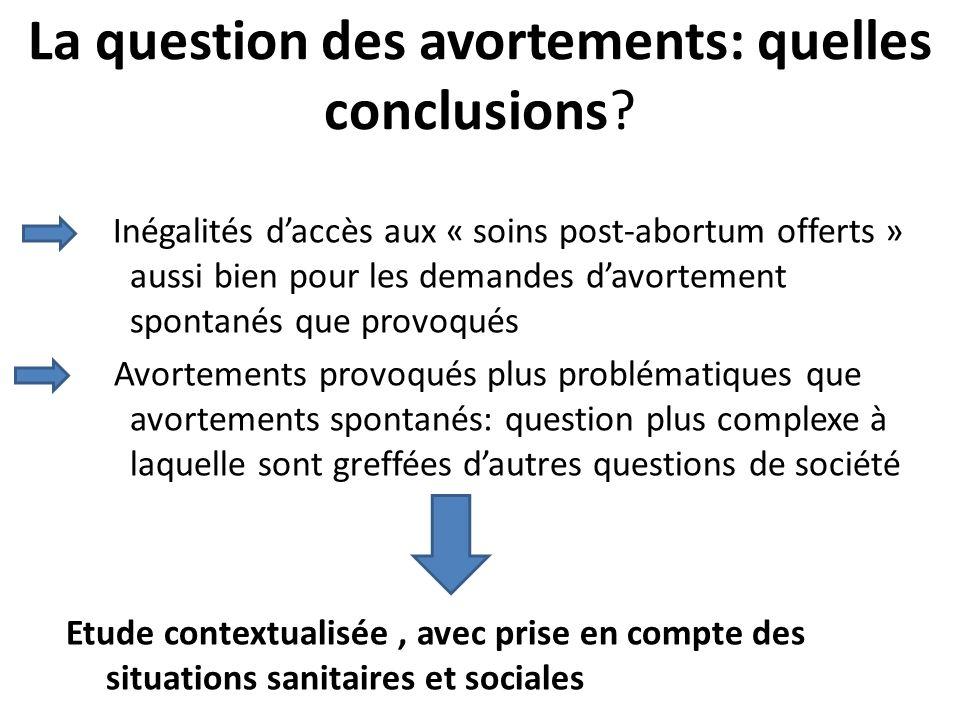 La question des avortements: quelles conclusions? Inégalités daccès aux « soins post-abortum offerts » aussi bien pour les demandes davortement sponta