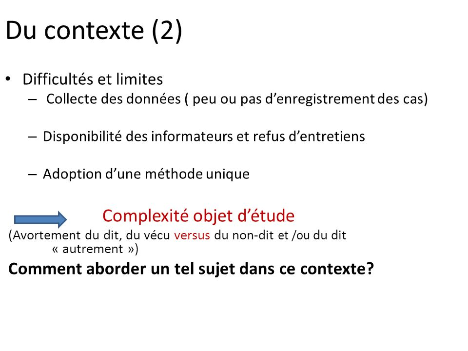La question des avortements: quelles conclusions.