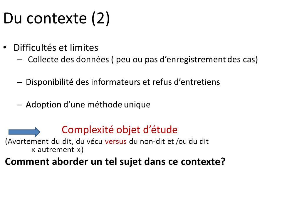 Du contexte (2) Difficultés et limites – Collecte des données ( peu ou pas denregistrement des cas) – Disponibilité des informateurs et refus dentreti