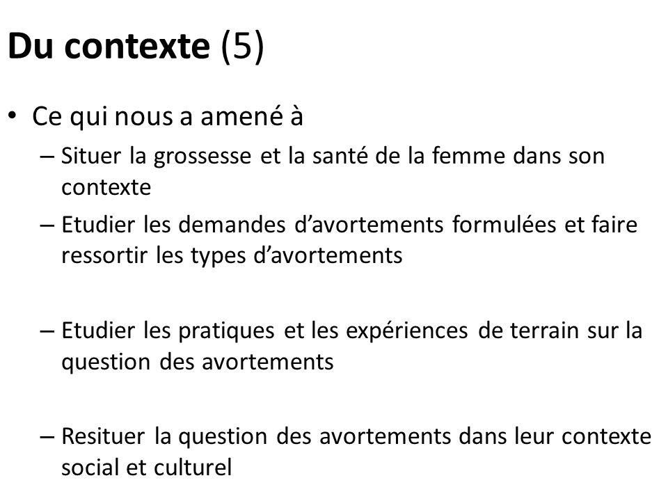 Du contexte (5) Ce qui nous a amené à – Situer la grossesse et la santé de la femme dans son contexte – Etudier les demandes davortements formulées et
