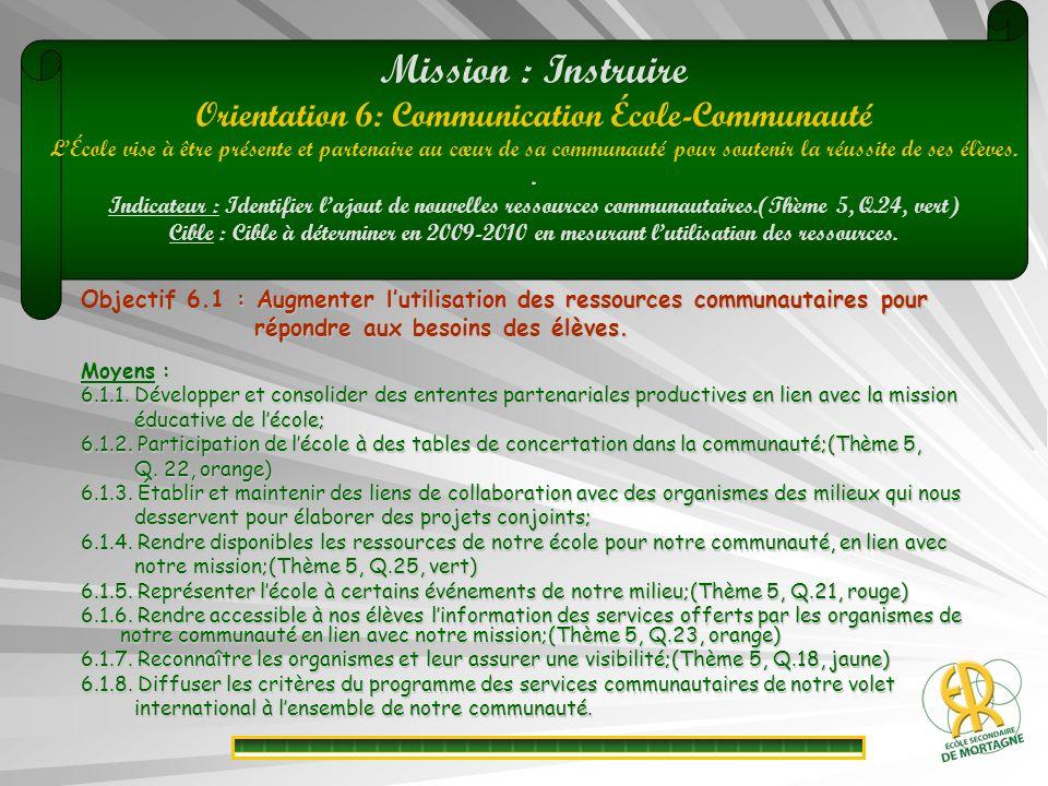: Augmenter lutilisation des ressources communautaires pour Objectif 6.1 : Augmenter lutilisation des ressources communautaires pour répondre aux besoins des élèves.