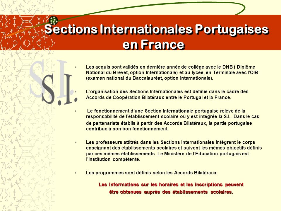 Sections Internationales Portugaises en France Sections Internationales Portugaises en France Les acquis sont validés en dernière année de collège avec le DNB ( Diplôme National du Brevet, option Internationale) et au lycée, en Terminale avec lOIB (examen national du Baccalauréat, option Internationale).