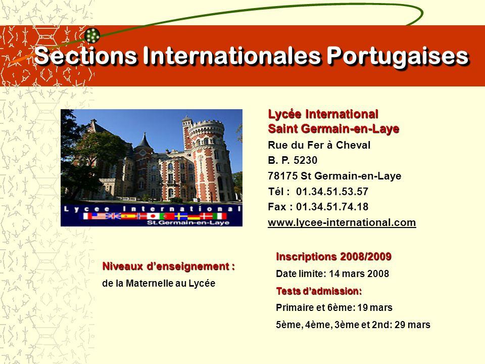 Sections Internationales Portugaises Cité Scolaire Internationale Europole Grenoble 4, place de Sfax B.