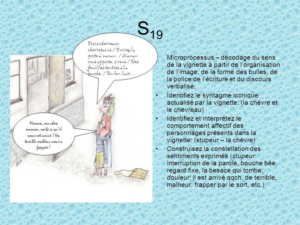 S 19 Microprocessus – décodage du sens de la vignette à partir de lorganisation de limage, de la forme des bulles, de la police de lécriture et du discours verbalisé; Identifiez le syntagme iconique actualisé par la vignette: (la chèvre et le chevreau) Identifiez et interprétez le comportement affectif des personnages présents dans la vignette: (stupeur – la chèvre) Construisez la constellation des sentiments exprimés (stupeur: interruption de la parole, bouche bée, regard fixe, la besace qui tombe; douleur: il est arrivé qqch.