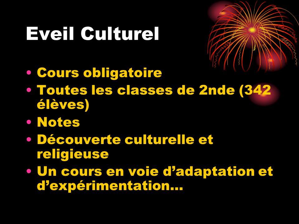 Eveil Culturel Cours obligatoire Toutes les classes de 2nde (342 élèves) Notes Découverte culturelle et religieuse Un cours en voie dadaptation et dexpérimentation…