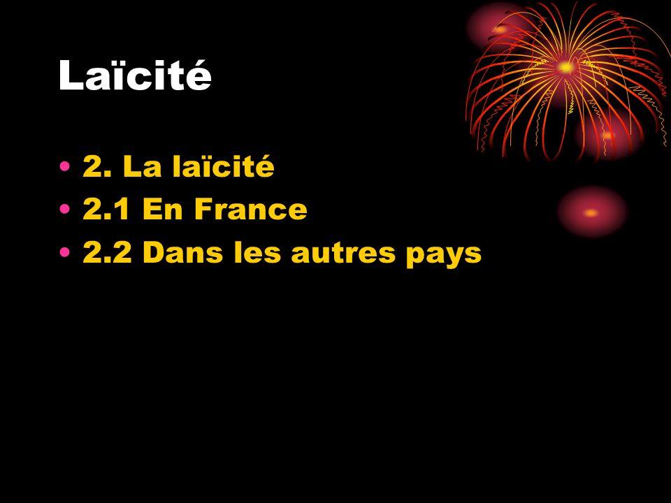 Laïcité 2. La laïcité 2.1 En France 2.2 Dans les autres pays