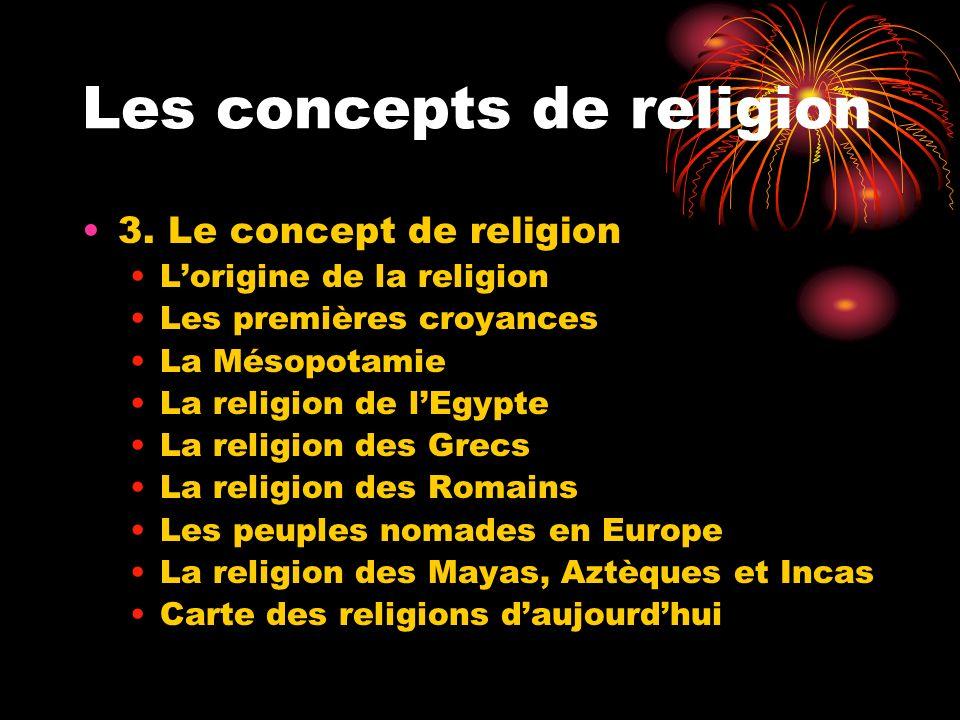 Les concepts de religion 3. Le concept de religion Lorigine de la religion Les premières croyances La Mésopotamie La religion de lEgypte La religion d