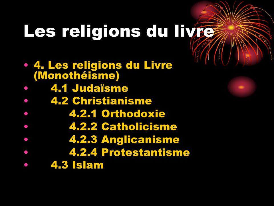 Les religions du livre 4. Les religions du Livre (Monothéisme) 4.1 Judaïsme 4.2 Christianisme 4.2.1 Orthodoxie 4.2.2 Catholicisme 4.2.3 Anglicanisme 4