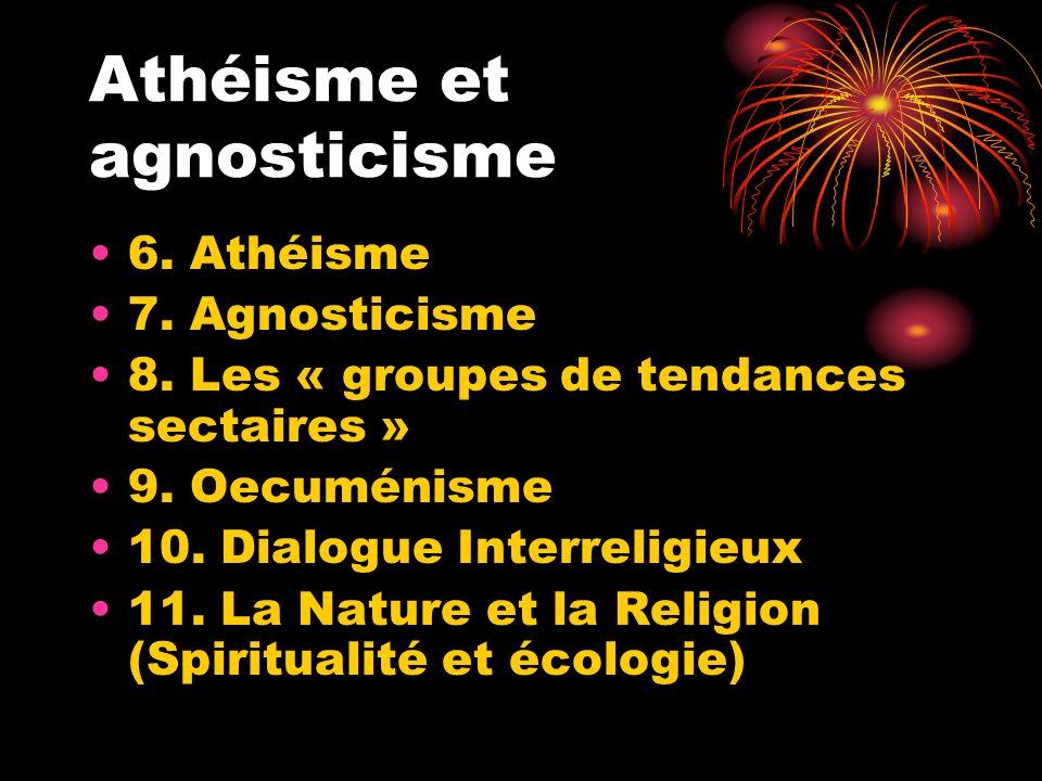 Athéisme et agnosticisme 6. Athéisme 7. Agnosticisme 8. Les « groupes de tendances sectaires » 9. Oecuménisme 10. Dialogue Interreligieux 11. La Natur
