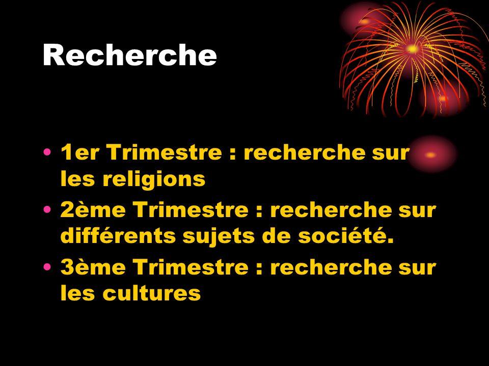 Recherche 1er Trimestre : recherche sur les religions 2ème Trimestre : recherche sur différents sujets de société. 3ème Trimestre : recherche sur les