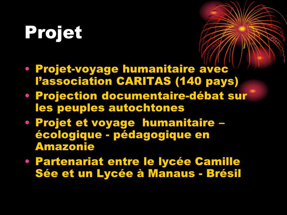 Projet Projet-voyage humanitaire avec lassociation CARITAS (140 pays) Projection documentaire-débat sur les peuples autochtones Projet et voyage human