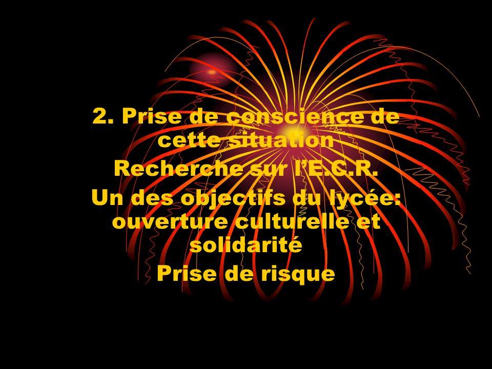 2. Prise de conscience de cette situation Recherche sur lE.C.R. Un des objectifs du lycée: ouverture culturelle et solidarité Prise de risque