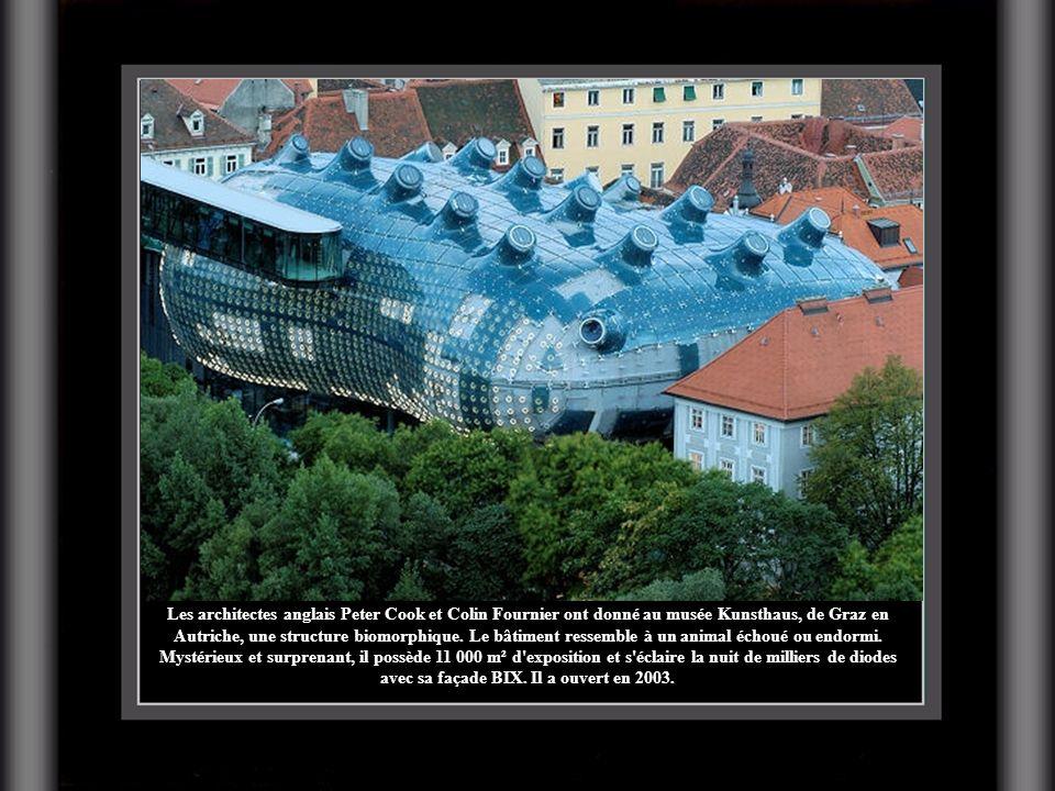 Les architectes anglais Peter Cook et Colin Fournier ont donné au musée Kunsthaus, de Graz en Autriche, une structure biomorphique. Le bâtiment ressem