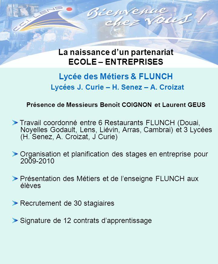 La naissance dun partenariat ECOLE – ENTREPRISES Lycée des Métiers & FLUNCH Présence de Messieurs Benoît COIGNON et Laurent GEUS Travail coordonné ent