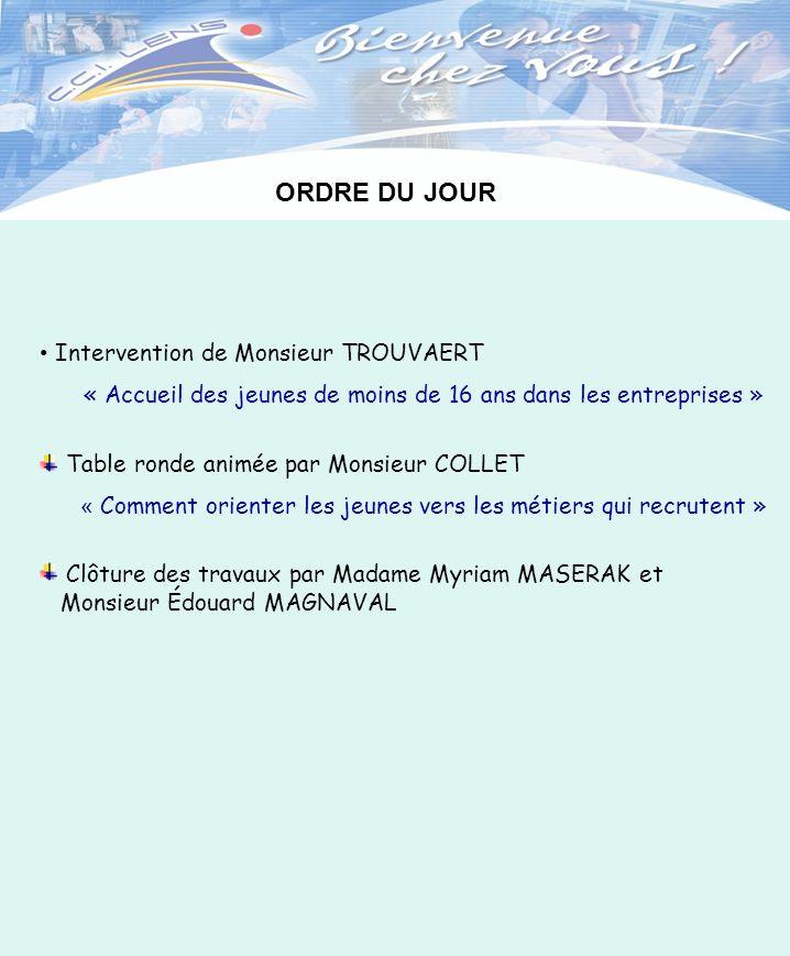 ORDRE DU JOUR Intervention de Monsieur TROUVAERT « Accueil des jeunes de moins de 16 ans dans les entreprises » Table ronde animée par Monsieur COLLET