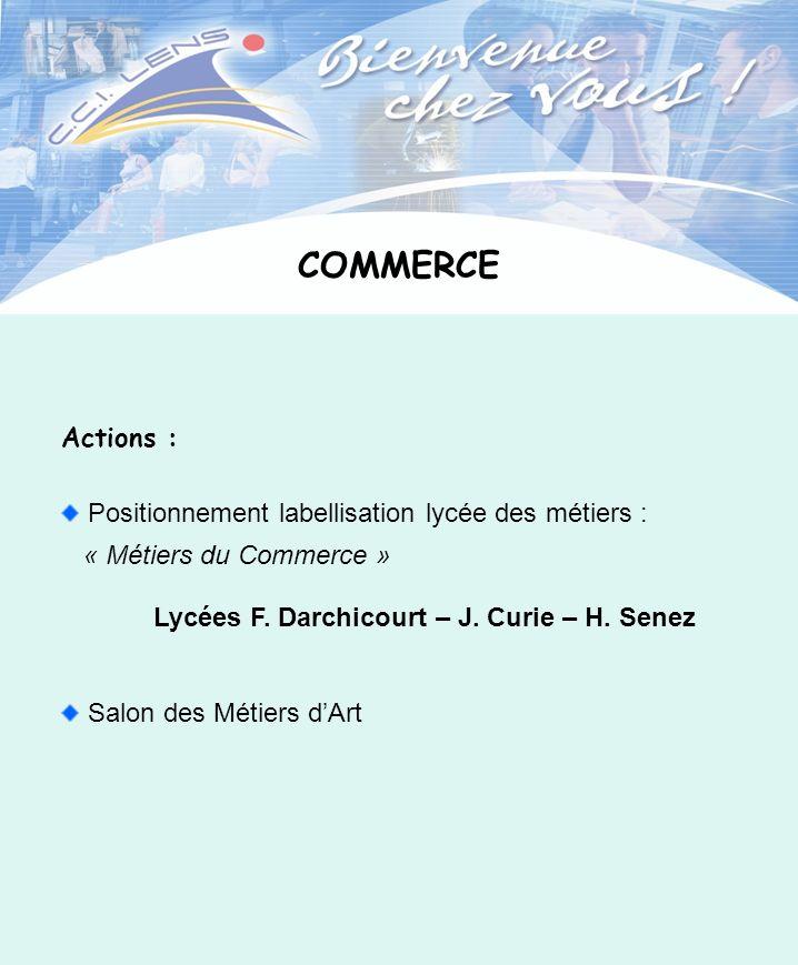 COMMERCE Actions : Positionnement labellisation lycée des métiers : « Métiers du Commerce » Lycées F. Darchicourt – J. Curie – H. Senez Salon des Méti