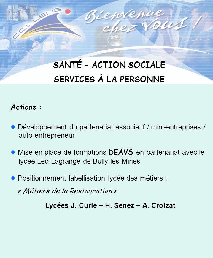 SANTÉ – ACTION SOCIALE SERVICES À LA PERSONNE Actions : Développement du partenariat associatif / mini-entreprises / auto-entrepreneur Mise en place d