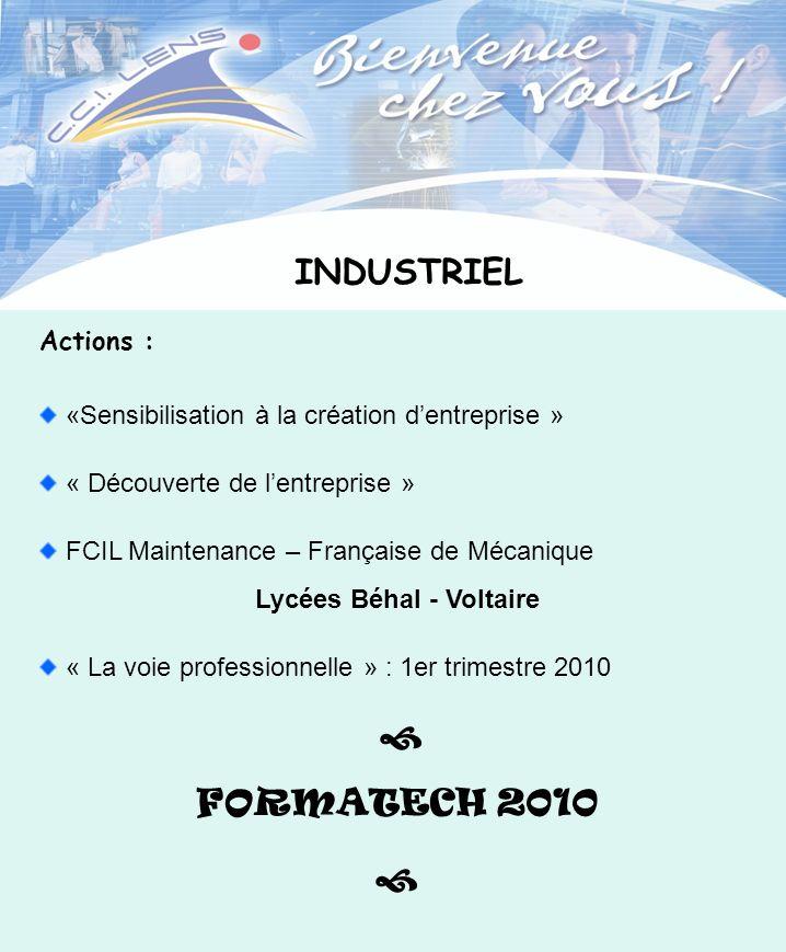 INDUSTRIEL Actions : «Sensibilisation à la création dentreprise » « Découverte de lentreprise » FCIL Maintenance – Française de Mécanique Lycées Béhal