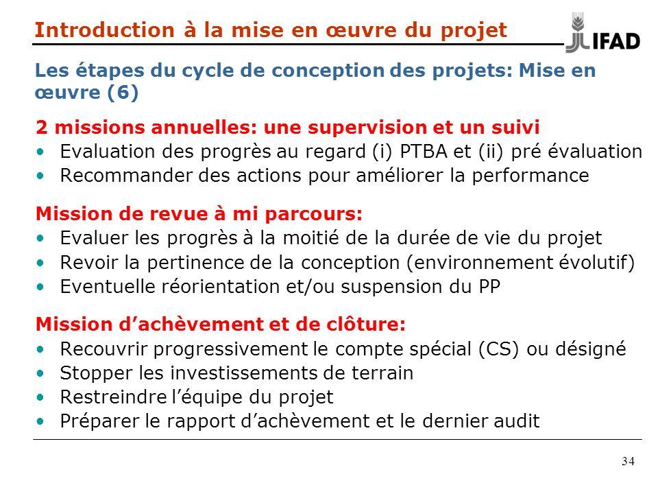 34 2 missions annuelles: une supervision et un suivi Evaluation des progrès au regard (i) PTBA et (ii) pré évaluation Recommander des actions pour amé