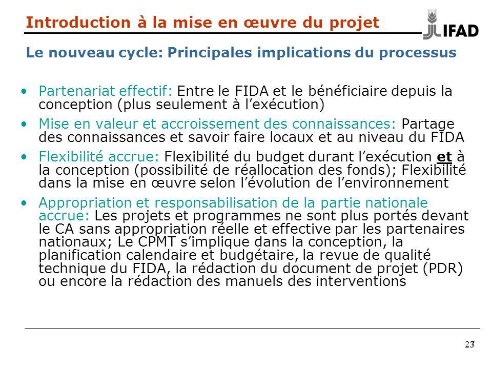 27 Partenariat effectif: Entre le FIDA et le bénéficiaire depuis la conception (plus seulement à lexécution) Mise en valeur et accroissement des conna