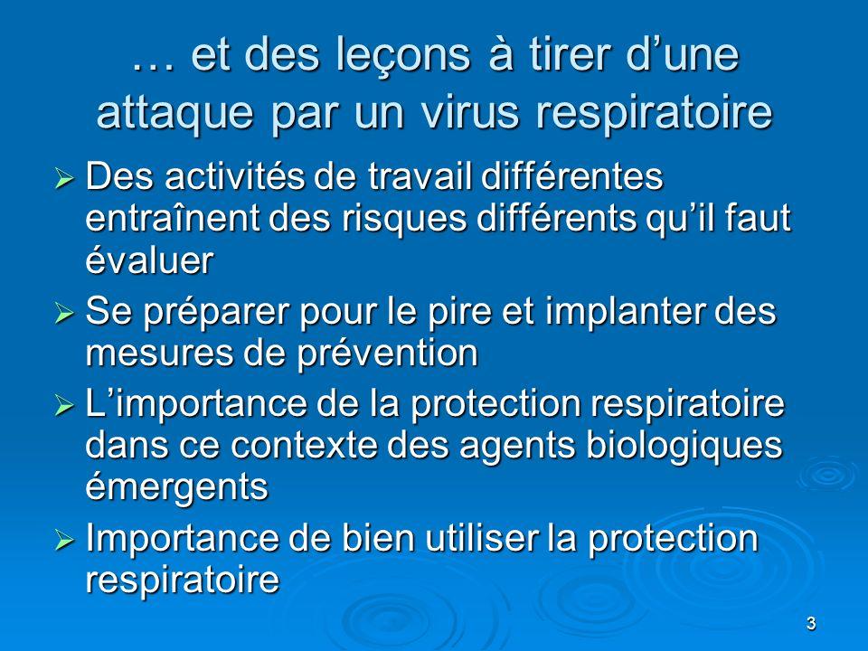 3 … et des leçons à tirer dune attaque par un virus respiratoire Des activités de travail différentes entraînent des risques différents quil faut éval