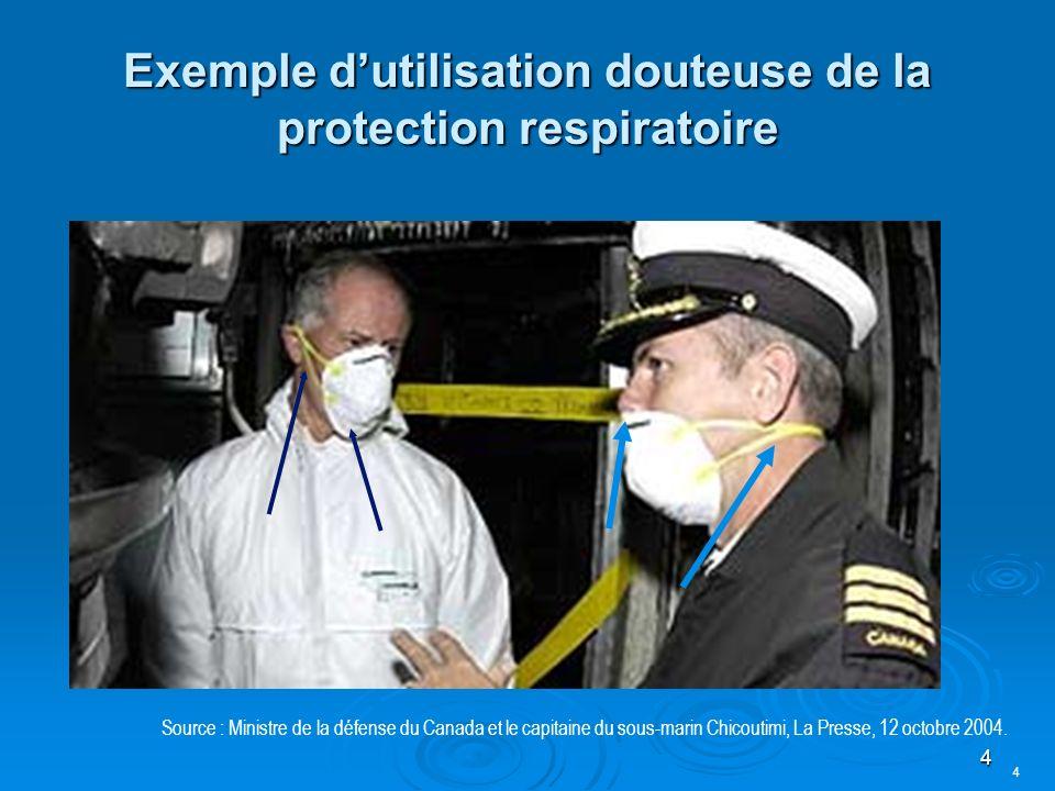 4 Exemple dutilisation douteuse de la protection respiratoire Source : Ministre de la défense du Canada et le capitaine du sous-marin Chicoutimi, La Presse, 12 octobre 2004.