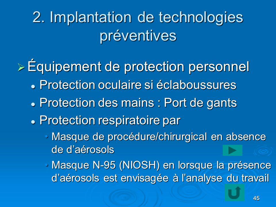 45 2. Implantation de technologies préventives Équipement de protection personnel Équipement de protection personnel Protection oculaire si éclaboussu