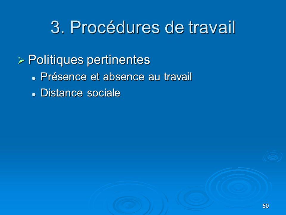 50 3. Procédures de travail Politiques pertinentes Politiques pertinentes Présence et absence au travail Présence et absence au travail Distance socia