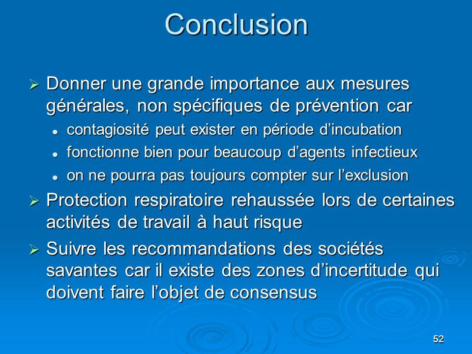 52Conclusion Donner une grande importance aux mesures générales, non spécifiques de prévention car Donner une grande importance aux mesures générales,
