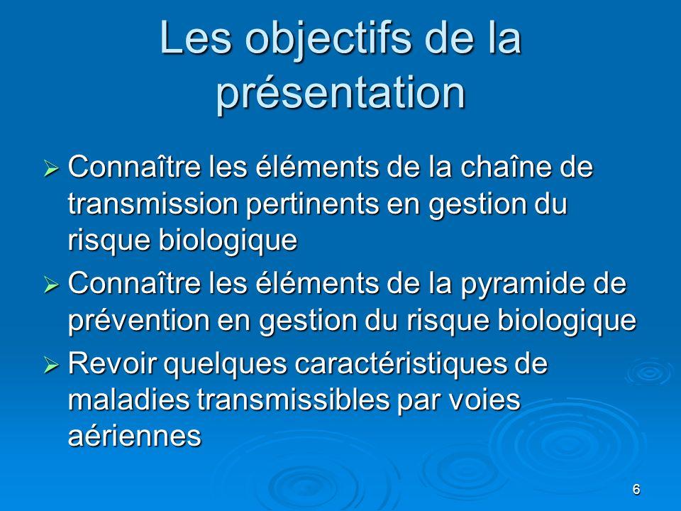 6 Les objectifs de la présentation Connaître les éléments de la chaîne de transmission pertinents en gestion du risque biologique Connaître les élémen