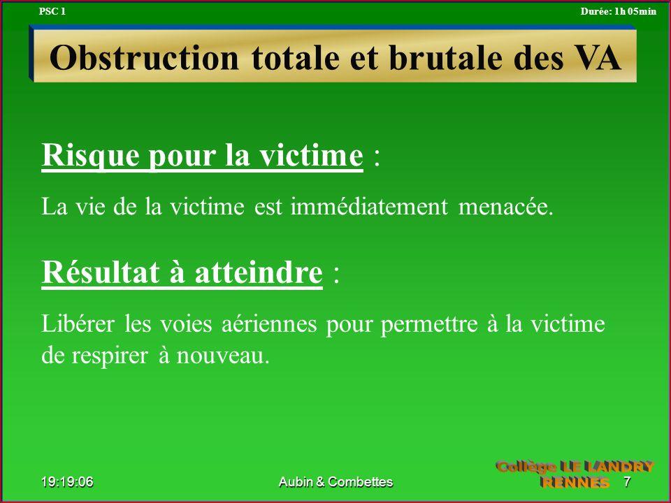 Risque pour la victime : La vie de la victime est immédiatement menacée. Résultat à atteindre : Libérer les voies aériennes pour permettre à la victim
