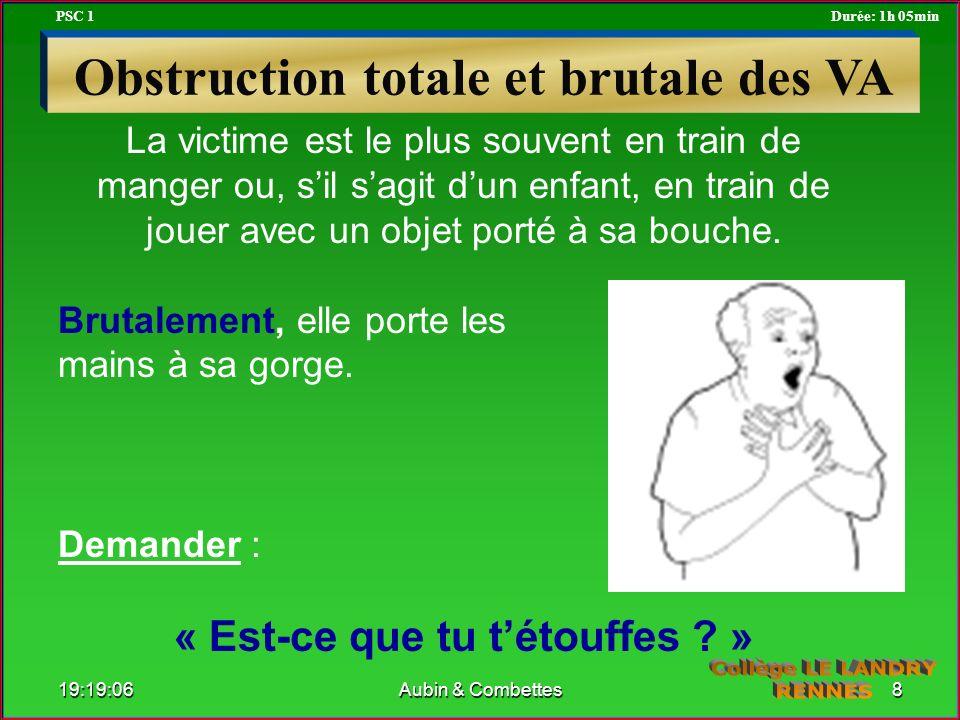 La victime est le plus souvent en train de manger ou, sil sagit dun enfant, en train de jouer avec un objet porté à sa bouche. Brutalement, elle porte