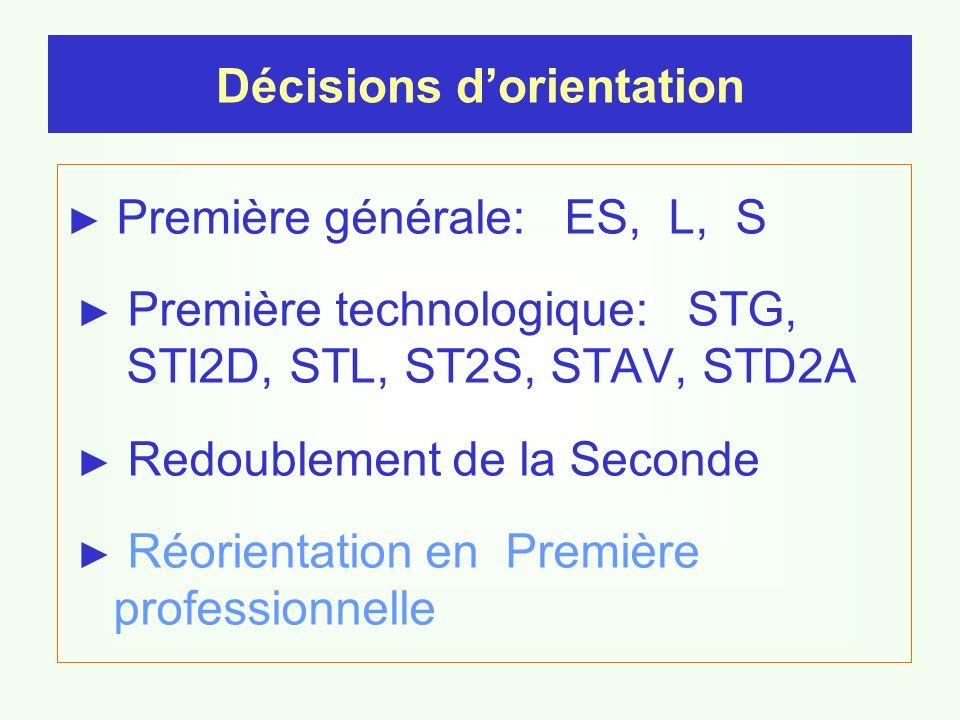 Première générale: ES, L, S Première technologique: STG, STI2D, STL, ST2S, STAV, STD2A Redoublement de la Seconde Réorientation en Première professionnelle Décisions dorientation