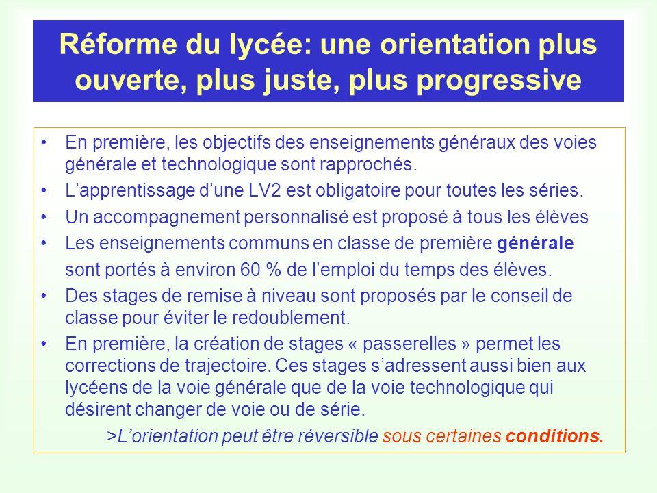 Réforme du lycée: une orientation plus ouverte, plus juste, plus progressive En première, les objectifs des enseignements généraux des voies générale et technologique sont rapprochés.