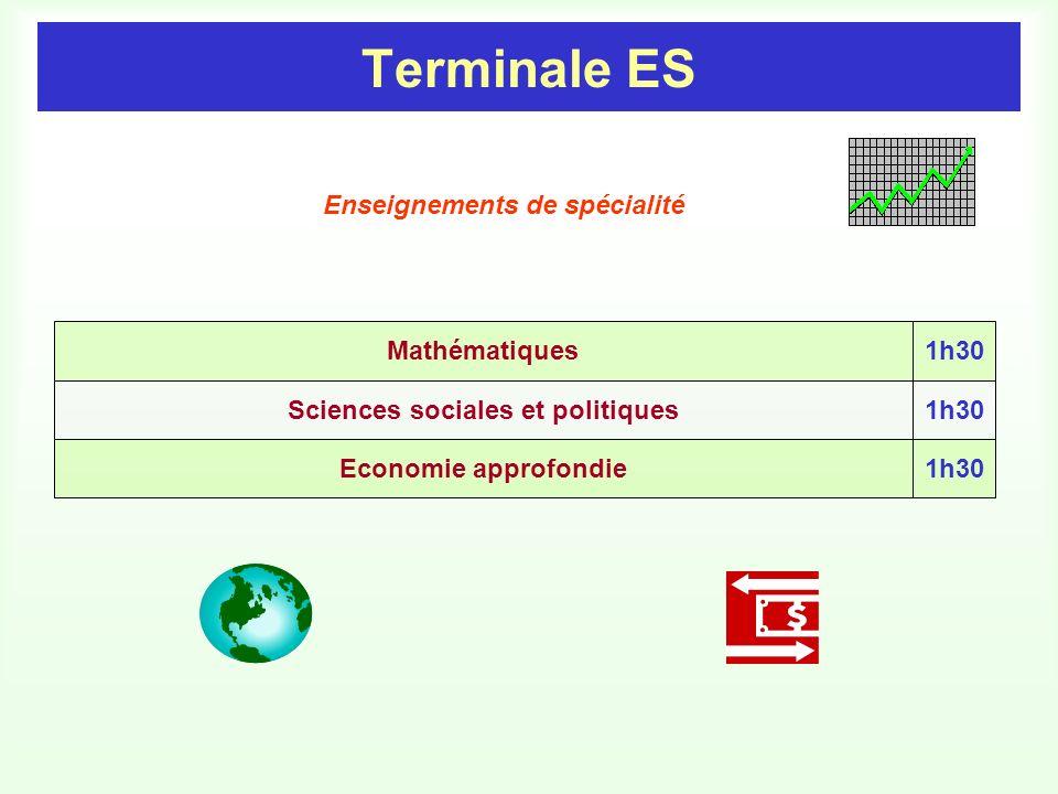 Terminale ES Economie approfondie Mathématiques Sciences sociales et politiques 1h30 Enseignements de spécialité