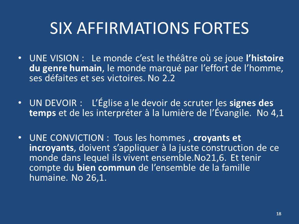 SIX AFFIRMATIONS FORTES UNE VISION : Le monde cest le théâtre où se joue lhistoire du genre humain, le monde marqué par leffort de lhomme, ses défaites et ses victoires.