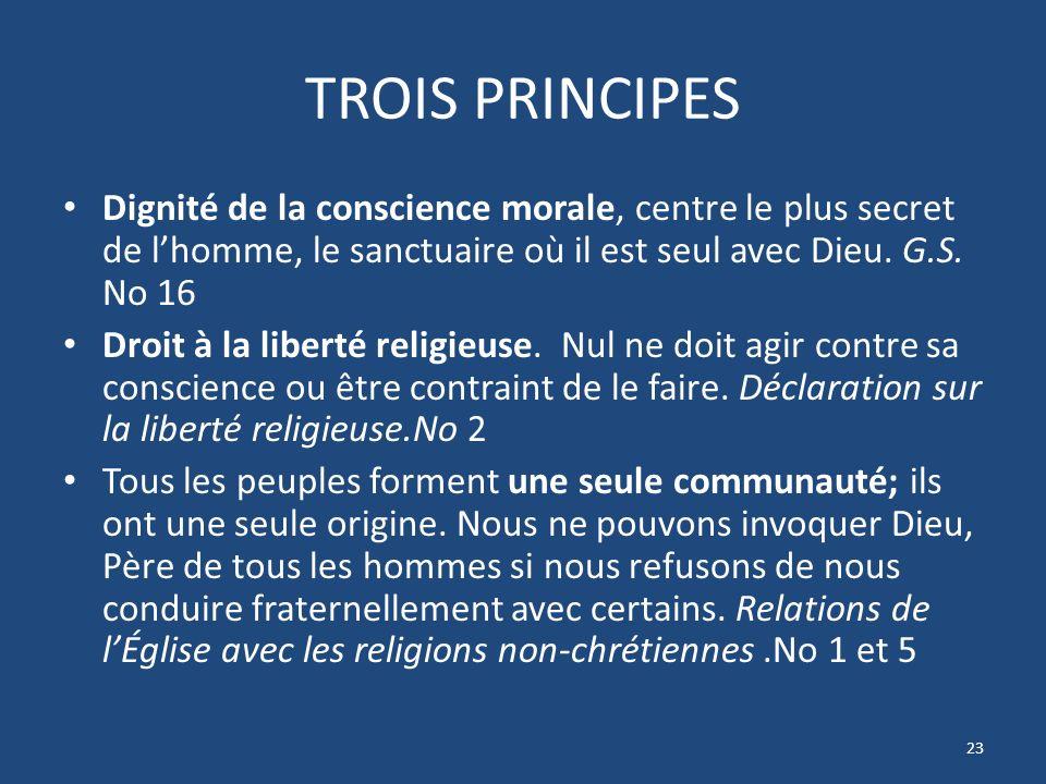 TROIS PRINCIPES Dignité de la conscience morale, centre le plus secret de lhomme, le sanctuaire où il est seul avec Dieu.