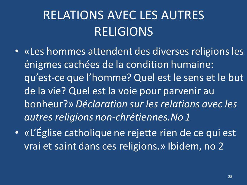 RELATIONS AVEC LES AUTRES RELIGIONS «Les hommes attendent des diverses religions les énigmes cachées de la condition humaine: quest-ce que lhomme.