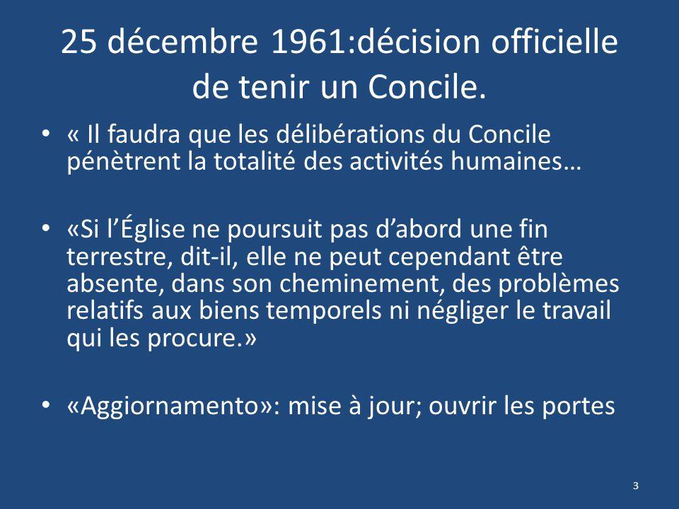 25 décembre 1961:décision officielle de tenir un Concile.