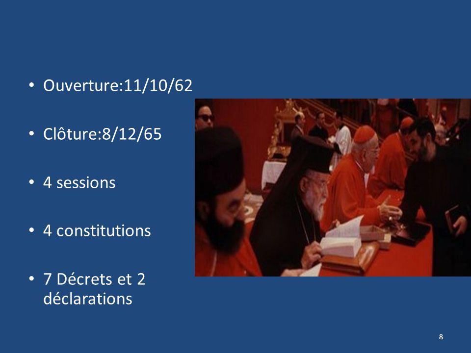 Ouverture:11/10/62 Clôture:8/12/65 4 sessions 4 constitutions 7 Décrets et 2 déclarations 8